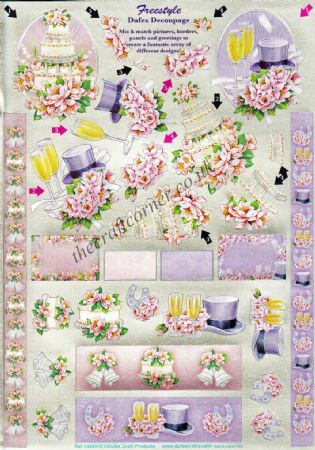 Wedding Freestyle Die Cut 3d Decoupage Sheet From Dufex